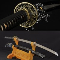 Wholesale Handmade Damascus Swords - HANDMADE JAPANESE REAL SWORD SAMURAI KATANA DAMASCUS FOLD STEEL BLADE 8192LAYERS