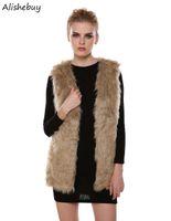 Wholesale Long Faux Fur Gilet - Plus Size Faux Fur Vest Ladies Autumn Winter Gilet Vest Jacket Long Cardigan Women Fur Outwear Female Luxurious Waistcoat Hot SV005513