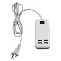 Wholesale ipad power adapter cable - 2016 New 15w 4 Port USB Wall AC Charger Desktop Chargers Power Adapter 4 USB Ports US EU Plug with Switch 1.5m Cable for iphone ipad Samsung