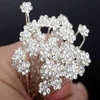 Wholesale glass faux pearls - 2018 Wholesale 40PCS Wedding Accessories Bridal Pearl Hairpins Flower Crystal Pearl Rhinestone Hair Pins Clips Bridesmaid Women Hair Jewelry