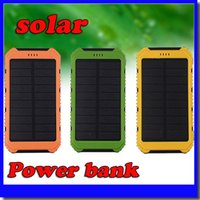 Wholesale free shipping solar power bank for sale - 2018 mAh Power Bank Ultra thin Waterproof Solar Power Banks A Output Cell Phone Portable Charger Solar Powerbank