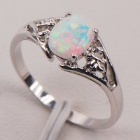 Wholesale Sterling Silver Fire Opal Jewelry - White Fire Opal Australia 925 Sterling Silver Woman Jewelry Ring Size 6 7 8 9 10 11 F579