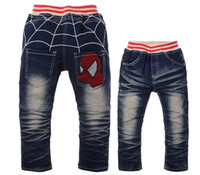 Wholesale Spider Man Jeans - Free Shipping 2015 Cartoon Spider Man Design Children Clothing Pants Boys Jeans kids clothes In Autumn Retail,CZ-009