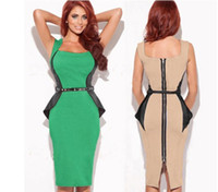 Wholesale Optical Summer Dress - Free Shipping 2016 New Fashion Womens Optical Illusion slimming Stretch bodycon Business Party Pencil Cocktail Dress Plus Size S-XXL