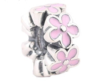 Wholesale 925 Ale Silver Charms - 100% Sterling Silver Charms 925 Ale Pink Floral Enameled European Charms for Pandora Bracelets DIY Beads Free Shipping