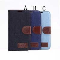 Wholesale Leather G3 Iphone Flip Case - Denim Jeans Stand Leather Case for Samsung Galaxy S5 S6 G9200 I9190 for Sony Z2 Z3 I4 I6 G3 Flip Cowboy Wallet Holster Credit ID Card Slot