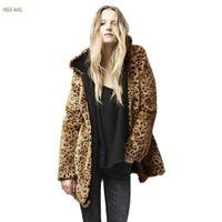 Wholesale Leopard Print Faux Fur Coats - Wholesale-Plus Size Winter Coat Women Warm Hooded Leopard Print Faux Fur Coat Female Overcoat High Waist Winter Jacket Outerwear L XL ZDD
