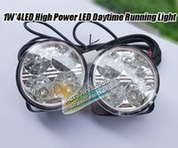 Wholesale Daytime Car 4w - Freeshipping daytime running light DRL Round 4W LED daytim running light 4W LED Day time Running Light for car and truck