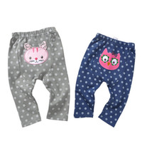 Wholesale Owl Baby Pants - Spring baby pants owl cat pattern PP pants 100% cotton baby clothing 2 colors 4 p l