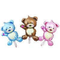 Wholesale Wholesale Teddy Bear Decorations - Wholesale-new mini Bear Teddy Bear foil balloon aluminum balloons birthday party decoration balloon wholesale baby
