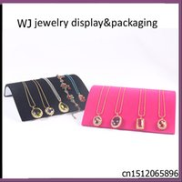 Wholesale Wholesale Doll Jewelry Display - Wholesale-Jewelry Shop Necklace Holder Doll Organizer Pendant Colars Colliers Display Board Stand Ramp Tray in Black Velvet 3.1cm Height