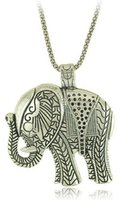 Wholesale Thailand Jewelry Necklaces - New Fashion Vintage Thailand Ethnic Antique Silver Necklace Jewelry For Women Metal Carving Cute Elephant Pendant Necklaces-N0171