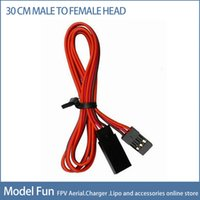 Wholesale Futaba Cable - Wholesale-Free shipping 300mm 30cm 10pcs lot RC servos extension Lead wire cable for Futaba JR male and female plug cables wiring