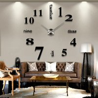 Wholesale Diy Modern Wall Clocks - Modern Mute DIY Large Wall Clock 3D Sticker Home Office Decor Black Gift EMS DHL Free Shipping New Arrival Promotion