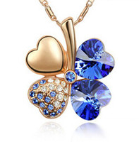 Wholesale Austrian Crystal Clover Leaf - Four Leaf Clover Pendants Necklaces Gold Plated Fashion Jewelry Austrian Crystal Necklace For Women made with Swarovski Elements 910