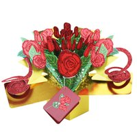 Wholesale Cards For Valentines - Handicraft Greeting Cards 3D Pop Up Rose Flower Happy Birthday Invitation Card For Valentine Day Gift 8yk1 C