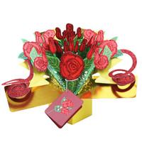 feliz san valentín rosa al por mayor-Tarjetas de felicitación de artesanía 3D Pop Up Rose Flower Tarjetas de invitación de cumpleaños feliz para Valentine Day Gift 8yk1 CW