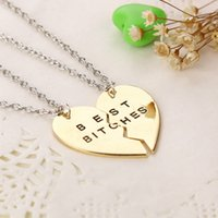 Wholesale Love Necklace For Couples - Vintage Gold Silver Best Bitches Two Three Part of Heart Love Pendant Necklace for Couple free Shipping