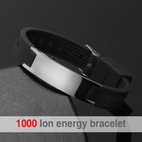 Wholesale Energy Silicone Bracelets - Wholesale-free shipping black (colour) silicone wristband 4 in 1 bio elements energy stainless steel magnetic bracelet for men
