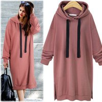 Wholesale Ladies Hoodies Cotton Wholesale - Winter lady casual solid color oversize long sleeve loose knitted long dress hoodie women brief style long fleece shirt