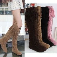 Wholesale Tall Wedge Boots Women - Hot Women's Tall Pull On Boots Tassels Moccasin Knee High Knight Ridding Boots
