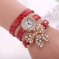Wholesale Leather Bow Bracelets Wholesale - New Arrival Fashion Bracelet Watches bow knot Wristwatches Luxury Diamond Rhinestone Women Quartz Watches Pearl Free DHL