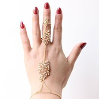 Wholesale Party Long Nails - Wholesale- Fashion delicate personality hot metal long chain nail hollow character leaf leaves rhinstone Rings for woman party gift#2348