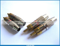 Wholesale Locking Rca Plug Gold - 100 Pcs RCA Plug Audio Video Locking Cable Connector Gold Plated