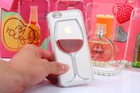 capas de telefone para copos venda por atacado-Para iphone 7 case red wine cup transparente líquido case para apple iphone 8 7 7 plus 6 6 s além de 5 5S phone cases voltar cobre