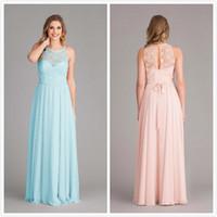 Wholesale Wedding Dress Chiffon Overlay - Stunning Lace Chiffon Bridesmaid Dresses under 100 2015 Lace Bodice Overlay Wedding Party Dresses Illusion Neck Maid of Honor Dress