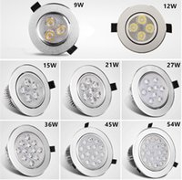 Wholesale 3w led blue - Recessed Downlight 3W 4W 5W 7W 9W*3W LED ceiling light sliver shell warm white cool white AC85-265V sportlight panel downlight Indoor light