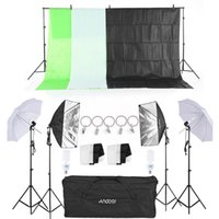 Wholesale Umbrella Holders Stands - Freeshipping Photo Studio Kit Softbox Umbrella with Bulb Holder Light Bulb Light Stand Black White Green Screen Backdrop