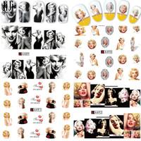 marilyn monroe autocollants achat en gros de-Vente en gros Jiji Trendy Nail 1Sheets Mixte Sexy Marilyn Monroe Nail Art Sticker Autocollant Eau Pour Ongles A481-492