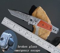Wholesale Emergency Break Glass - Free shipping. hot wholesale! damascus Pocket knives folding blade hunting knife tactical knife emergency tools broken glass escape tools