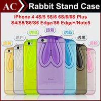 Wholesale Bunny Wallets - 3D Cartoon Rabbit Ear Soft Clear Stand Case For iPhone 4 5S 6 6S 7 Plus Galaxy S6 S7 Edge Bunny Transparent Cover Folding Shell