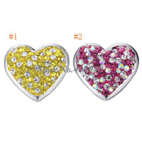 "Wholesale Shape Porcelain - Snap Jewelry 5PCS ""Heart"" Shaped Ginger snap button Fit Snap Button Bracelet and Button Pendant Rhinestone DelicateLSSN02*5"
