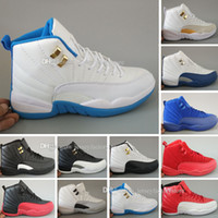 Wholesale gray taxi - Cheap New 12 XII Basketball Shoes Women Men 12s TAXI Playoff White Gray Black Gym barons cherry RED Flu Game Sneakers US 5.5-13