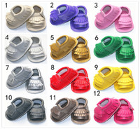 Wholesale Wrap Leather Boots - EMS 12 Color New cow leather Infant open toe mocassions sandals baby tassels boot booties infant suded leather 2layer fringe shoes B001