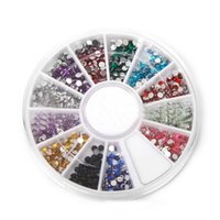 Nail Art Strass décoration 3D Multi Color Wheel Glitter Gems Stone Design outils autocollant Nail ronde Bling Crystal H7