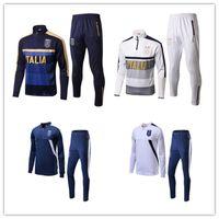Wholesale Italian Trains - 2017 2018 Survetement football Italy tracksuit italia training suit kits Soccer Chandal italian training shinny tight pants sweater shirt