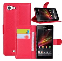Wholesale Xperia Z Bag - Wallet Flip PU leather Case Cover Bag With Card Slots Stand For Sony Xperia Z L36h Z1 L39h Compact Mini Z2 Z2A E1 E2 E3 Z3