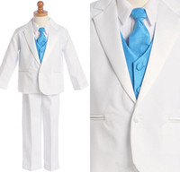 Wholesale Men Suit Color Chart - Custom Made Little Men White One Buttons Suits Notch Lapel Boy's Kids Formal Occasion 2015New Design Wedding Party Tu(Jacket+Pants+Vest)q06