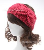 Wholesale Crocheted Headwraps - Womens headbands Bow Hat Adult Ladies Bandanas Warm Headband Winter Crochet Knitting Wool Solid Headwraps hair accessories headwear WHA51