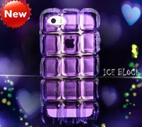 Wholesale Wholesale 3d Crystal Cubes - NEW 3D ALCOCO Ice Block Soft TPU Case For iPhone 5 5S 6 6 Plus Cute Ice Cube Crystal Cover Shockproof Back Skin With Necklace Chain