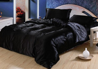 Wholesale Wholesale Cotton King Size Bedspreads - 7pcs Black satin silk bedding set sheets California king queen full twin size quilt duvet cover bedsheet fitted bed in a bag bedspread