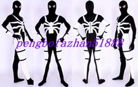 ingrosso abito bianco catsuit vestito-Nero / Bianco Lycra Spandex Spiderman Suit Catsuit Costumi Unisex Fantasy Spider Man Costumi Outfit Halloween Fancy Dress Cosplay Suit P047