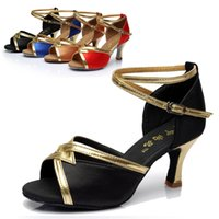 Wholesale Latin Dance Shoes For Sale - Wholesale-Hot sale lady indoor soft sole ballroom dancing shoes med heels summer sandals for women's tango salsa latin dance shoes jay