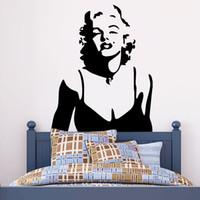decorações do quarto de marilyn monroe venda por atacado-Sexy Marilyn Monroe Wall Art Decal Adesivo Clássico Marilyn Monroe Decoração de Casa Papel De Parede Mural Adesivo Sala de estar Quarto Decalque Da Parede