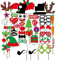 Wholesale Christmas Photo Props - 2018 New 47 sets of Christmas New Year rave party photo props Christmas paper beard funny props