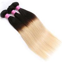 Wholesale Bulk Hair 613 - Mink Virgin Hair Extensions Ombre Brazilian Hair Wefts Two Tone 1B&613 Blonde Peruvian Indian Mongolian Bulk Virgin Hair Weaves 3 4 5 Bundle